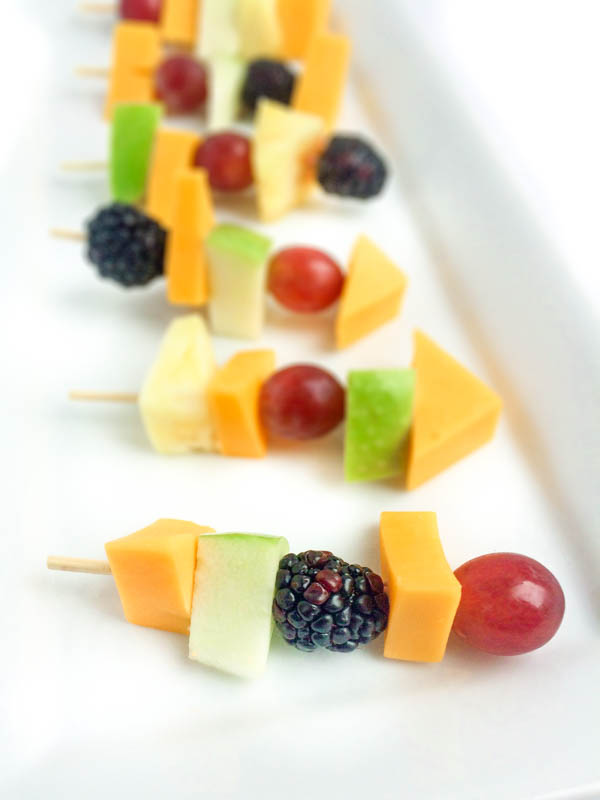 25 Sensational Skewer Recipes, including these Fruit and Cheese Skewers