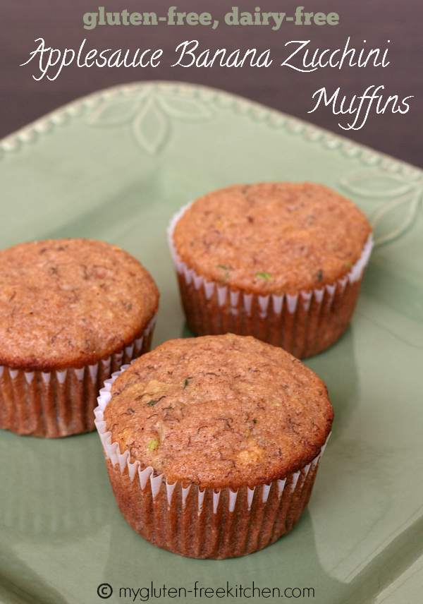Gluten Free Applesauce Banana Zucchini Muffins - Over 30 delicious recipes to help you use up your bounty of garden zucchini. See the recipes on A Family Feast.