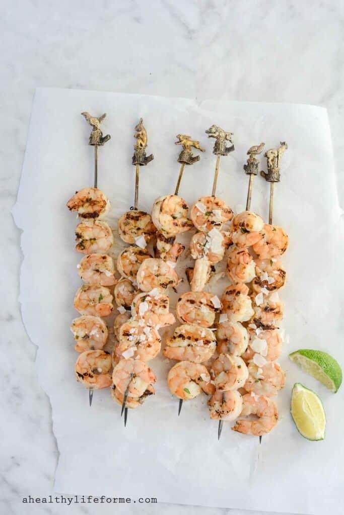 25 Sensational Skewer Recipes, including these Lime Coconut Grilled Shrimp Skewers
