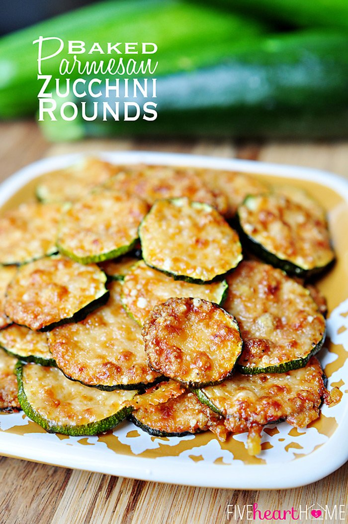 Baked Parmesan Zucchini Rounds - 30+ Recipes for your Garden Zucchini