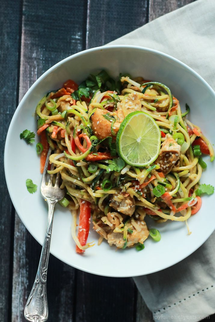 Thai Chicken Zucchini Noodles with Spicy Peanut Sauce - A Family Feast