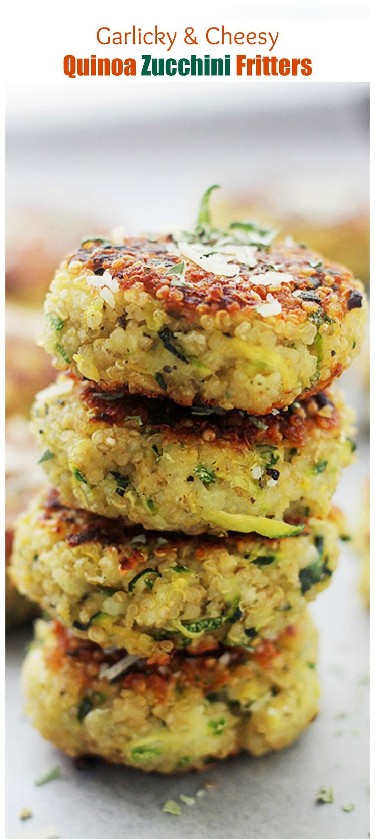 Garlicky & Cheese Quinoa Zucchini Fritters - 30+ Recipes for your Garden Zucchini
