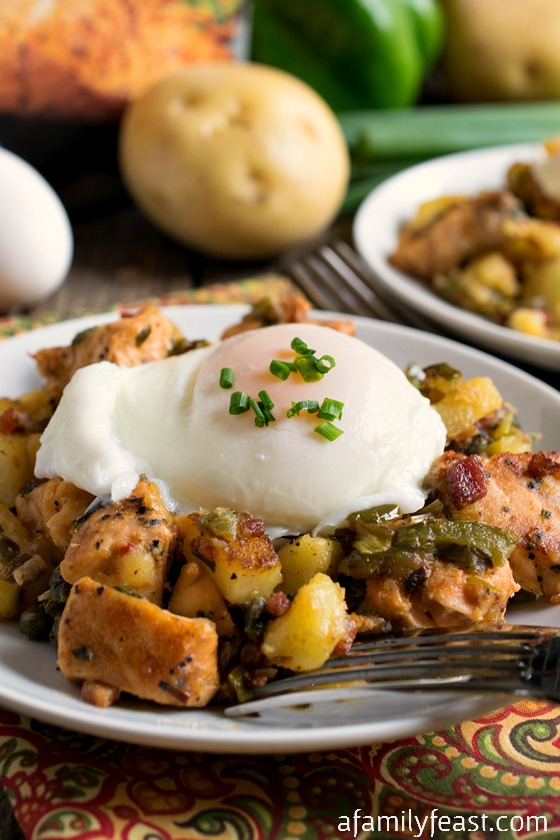 Salmon Hash with Poached Eggs - Make a restaurant-quality brunch from the comfort of your own home!