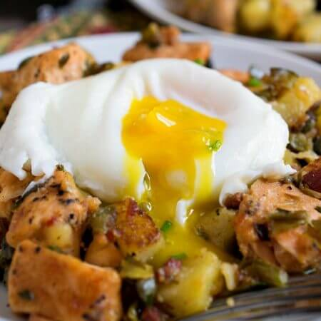 Salmon Hash with Poached Eggs - A Family Feast
