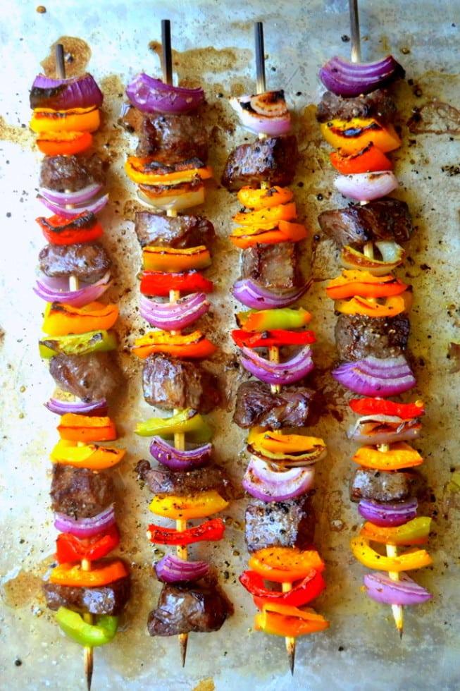 25 Sensational Skewer Recipes, including these Steak Fajita Skewers