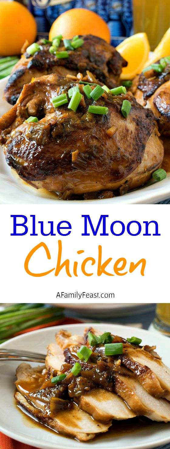 Blue Moon Chicken - A delicious, rich sauce made with Blue Moon beer, served over roasted chicken. Fantastic!