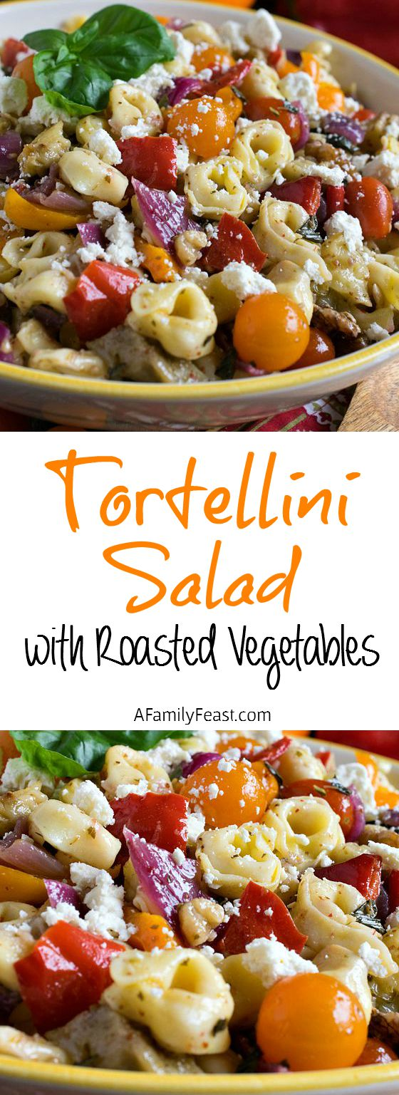Tortellini Salad with Roasted Vegetables - A fantastic salad that everyone loves! Great for barbecues!