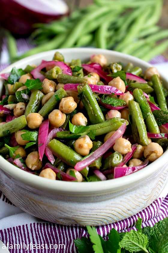 Chick Pea and Green Bean Salad - A simple, flavorful salad made with fresh garden green beans.