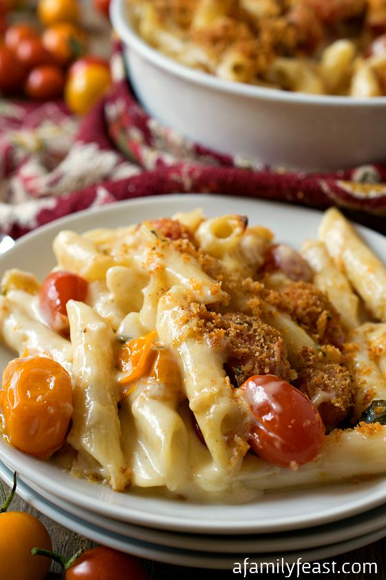 Macaroni and Cheese with Roasted Tomatoes - A classic meal made even better with oven-roasted tomatoes!  A perfect family meal!