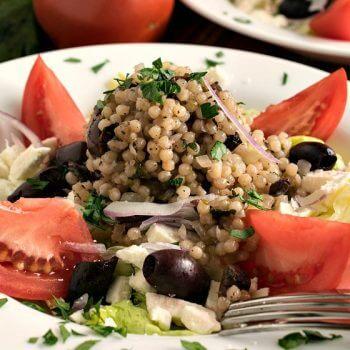 Mediterranean Israeli Couscous Salad - A Family Feast