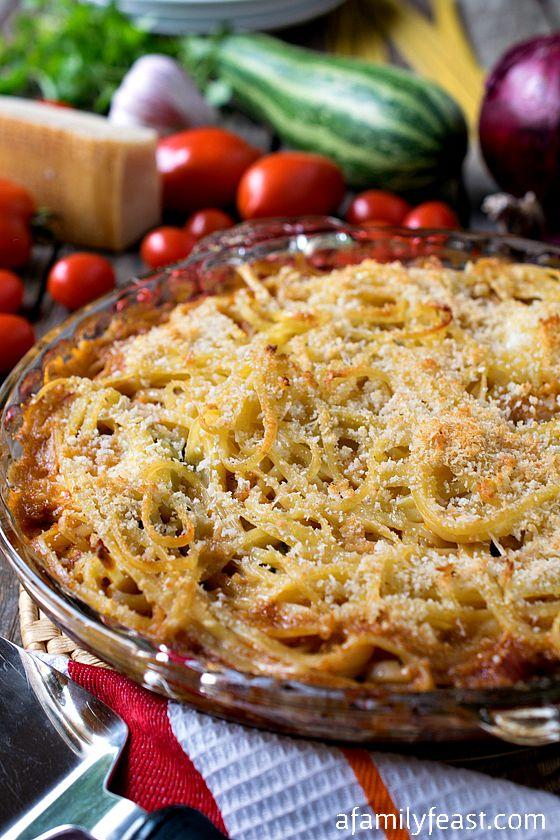 Summer Squash Spaghetti Ricotta Pie - Wonderful summertime comfort food the entire family will love!