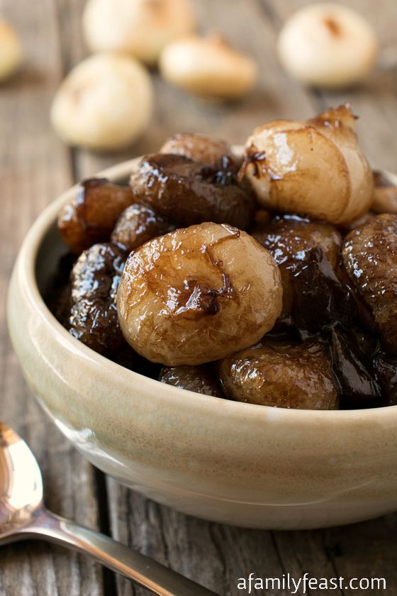 Sweet and Sour Balsamic Glazed Onions - A fantastic side dish to grilled steak!