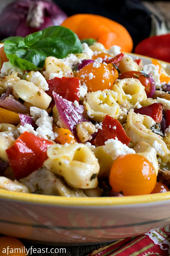 Tortellini Salad with Roasted Vegetables - A Family Feast