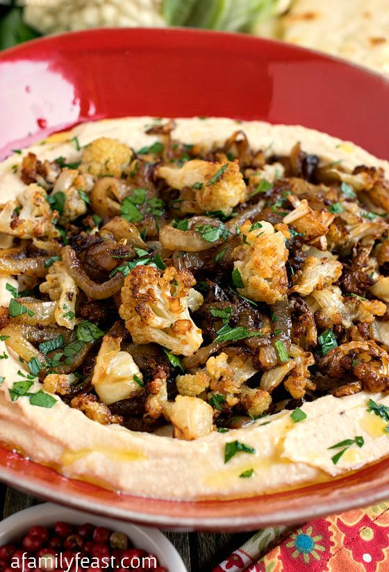 Hummus with Caramelized Cauliflower and Onions - A Family Feast