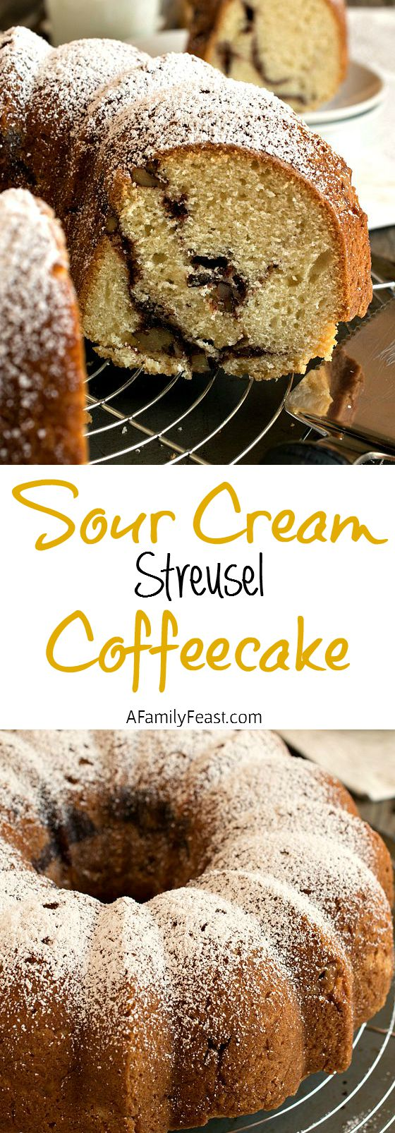Sour Cream Streusel Coffeecake - A classic coffeecake recipe with a sugar, cinnamon and walnut streusel baked inside!