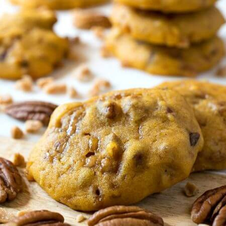 Pumpkin Pecan Toffee Chip Cookies - A Family Feast