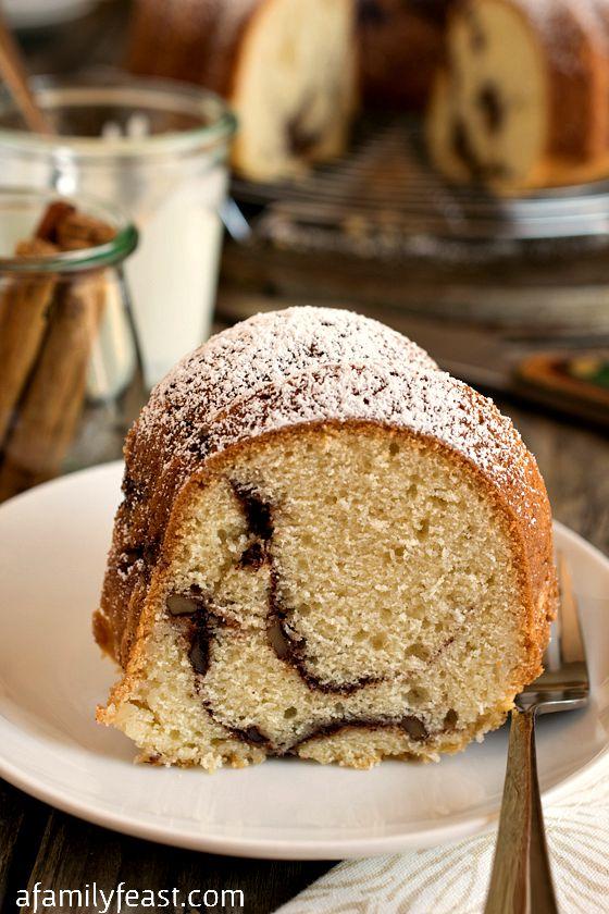Sour Cream Streusel Coffeecake - A classic coffeecake recipe with a sugar, cinnamon and walnut streusel baked inside!