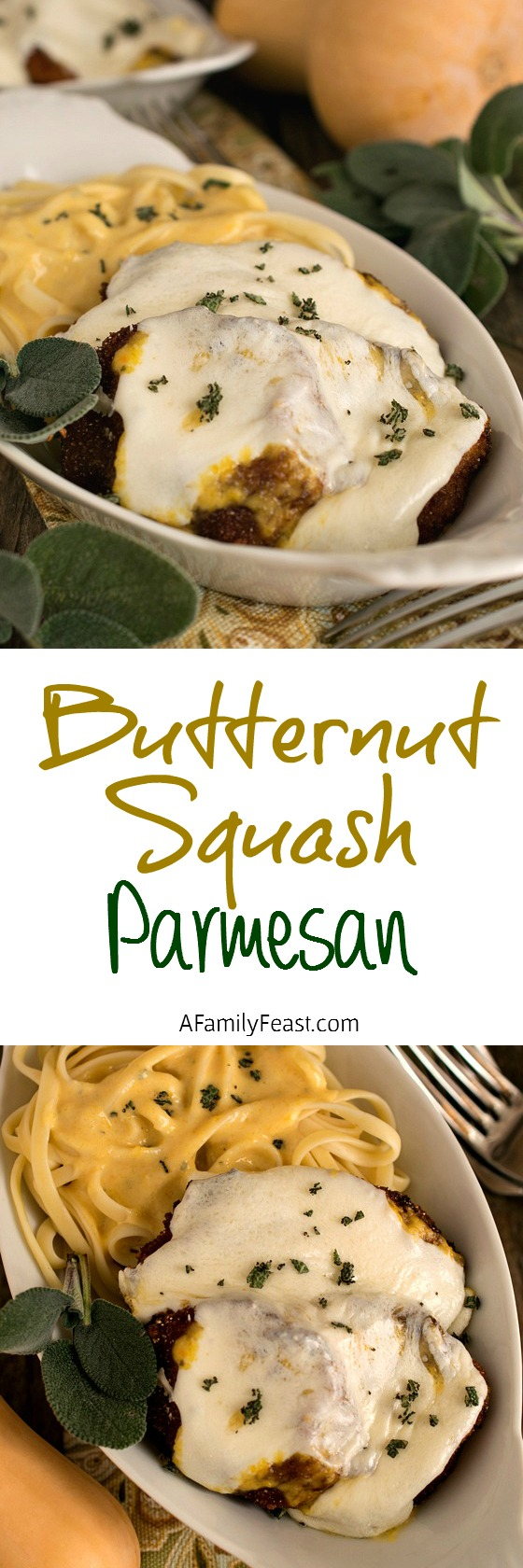 A delicious twist on a classic Italian meal - Butternut Squash Parmesan served with Linguine and a delicious creamy pasta sauce!