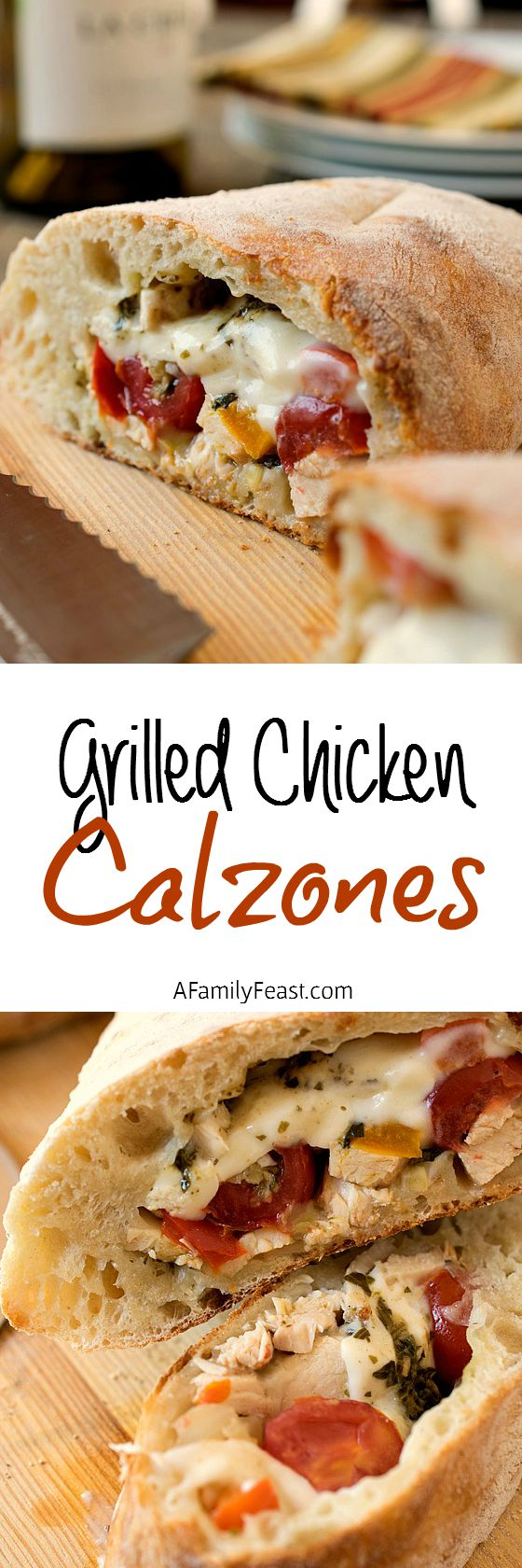 Grilled Chicken Calzones - Destined to become a family favorite! Pizza dough stuffed with grilled chicken, roasted red peppers, cheese and Béchamel. So easy and so delicious!