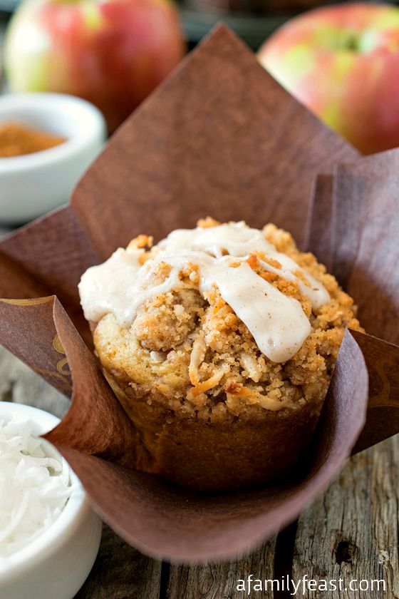 Spiced Apple Coconut Muffins - A Family Feast
