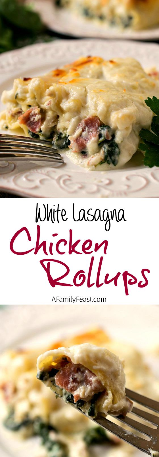 White Lasagna Chicken Rollups - Ultimate creamy, cheesy comfort food! Lasagna with chicken, prosciutto, and spinach in a cream sauce. Delicious!