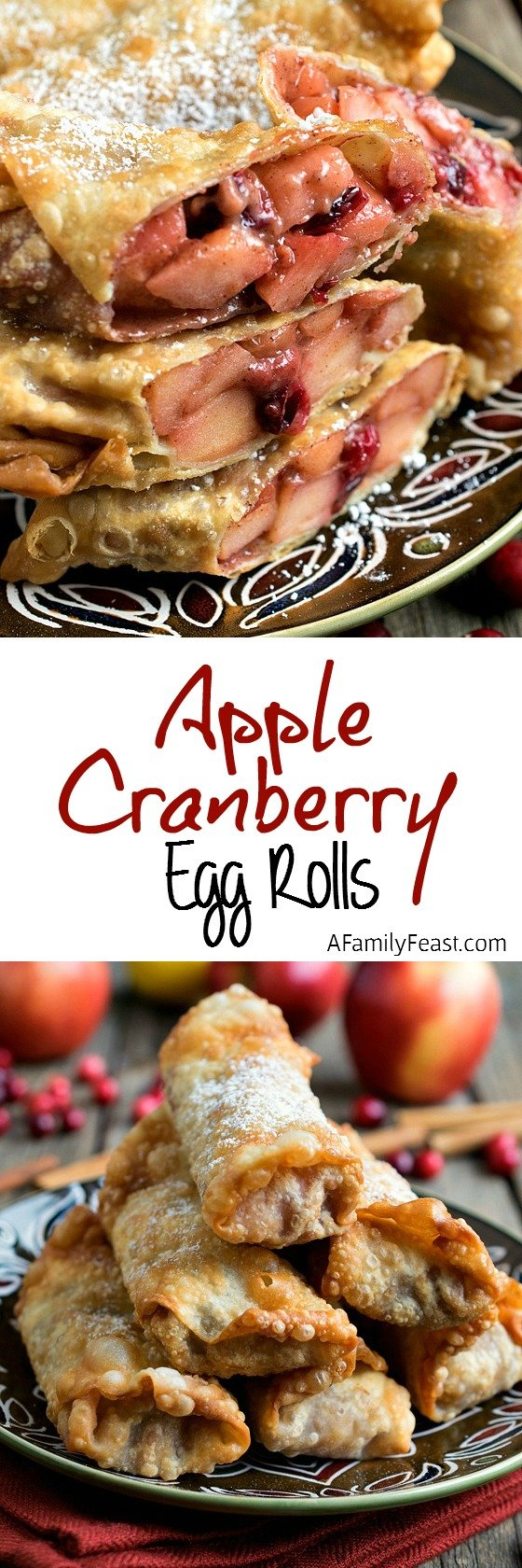 A delicious twist on classic apple pie flavors! These apple cranberry egg rolls are addictively delicious!