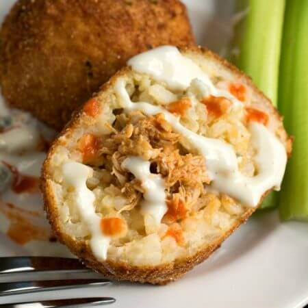 Buffalo Chicken Arancini - A Family Feast