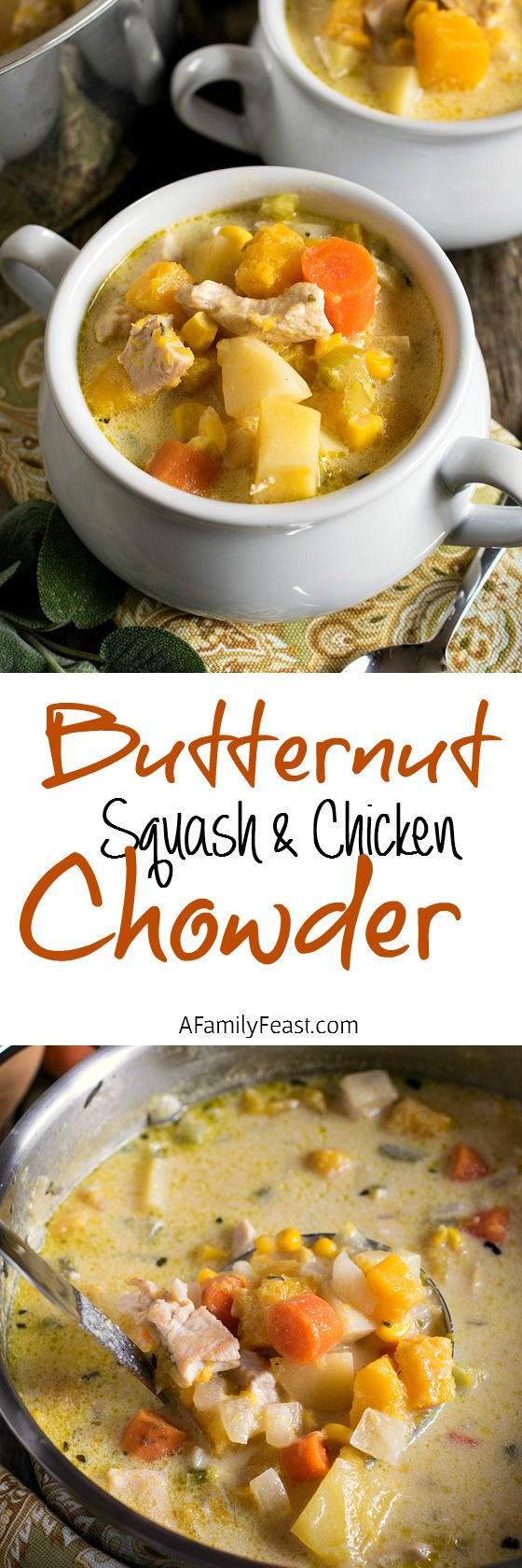 Butternut Squash and Chicken Chowder - A fantastic Fall soup! Wonderful savory flavors including sage, chicken and butternut squash.