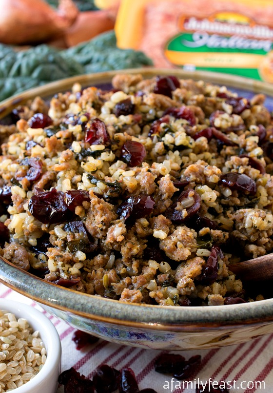 Italian Sausage and Rice Dressing with Kale and Cranberries - A fantastic, flavorful alternative to traditional bread stuffing. (Gluten-Free option).