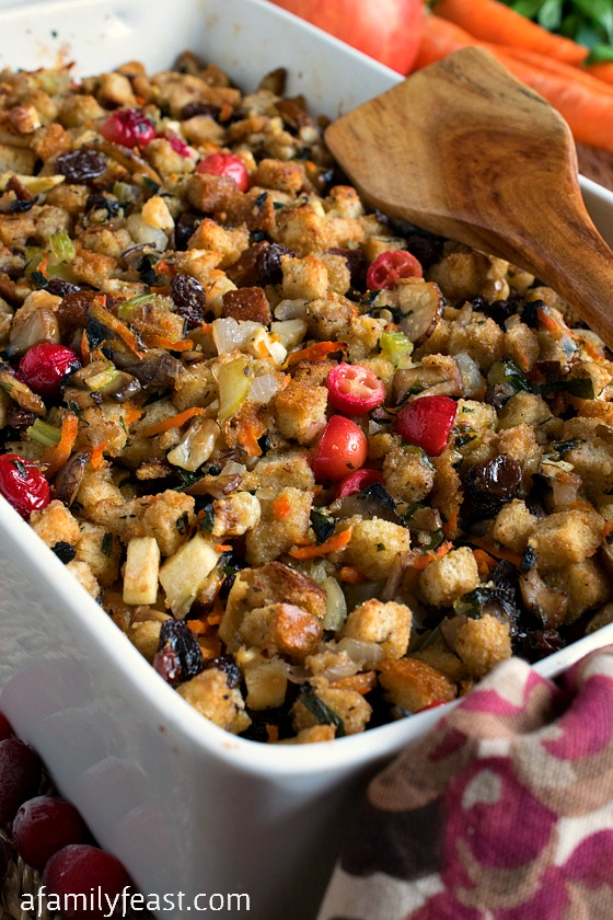 Paul's Thanksgiving Stuffing - A fantastic, easy Thanksgiving stuffing with lots of different savory and sweet flavors.
