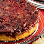 Cranberry Ginger Upside Down Cake with Rum Whipped Cream
