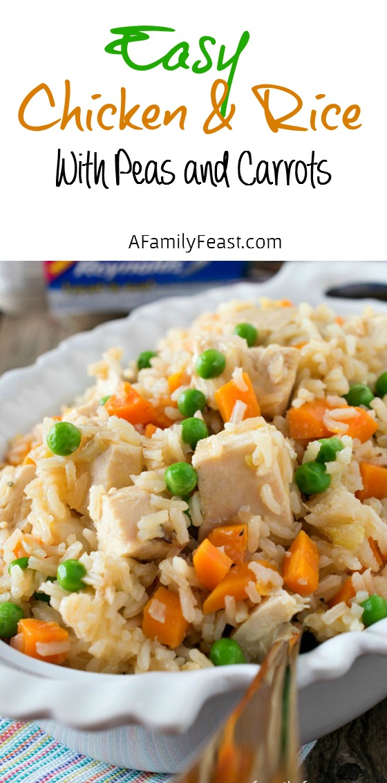 Dinner is ready in just 30 minutes with this Easy Chicken & Rice!  Makes a big batch - perfect for leftovers the next day!