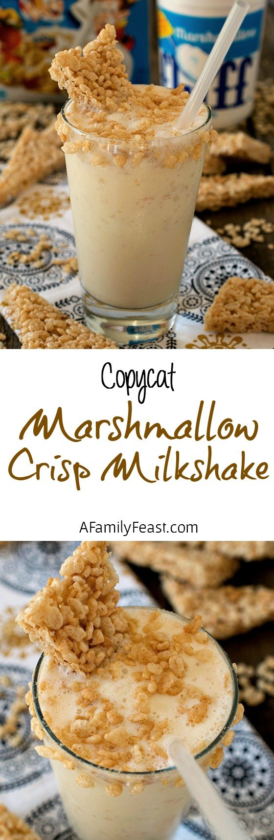 Marshmallow Crisp Milkshake - A fun and delicious milkshake with all of the classic flavors in a Rice Krispies Treat!