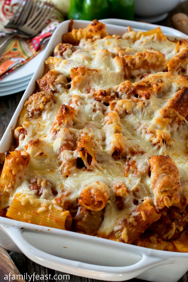 Three Cheese Baked Ziti with Meatballs and Sausage - A fantastic dish that is quick to prepare and great for feeding a crowd.