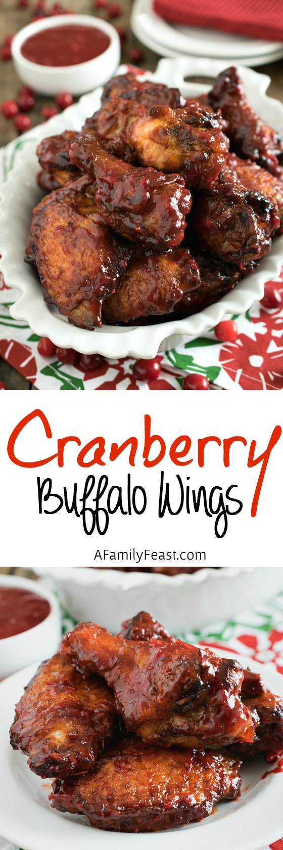Cranberry Buffalo Wings - a delicious sweet-tart twist on a classic wings recipe. You've got to try these!