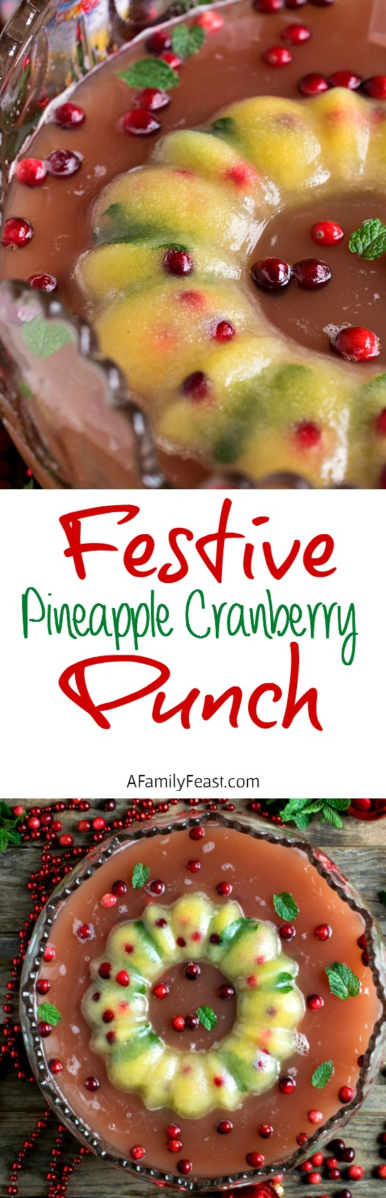 This Festive Pineapple Cranberry Punch is perfect for a holiday party! We also show you how to make a beautiful ice ring to keep your punch icy cold!