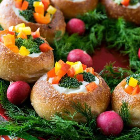 Veggie Dip Bread Bowl Wreath - A Family Feast