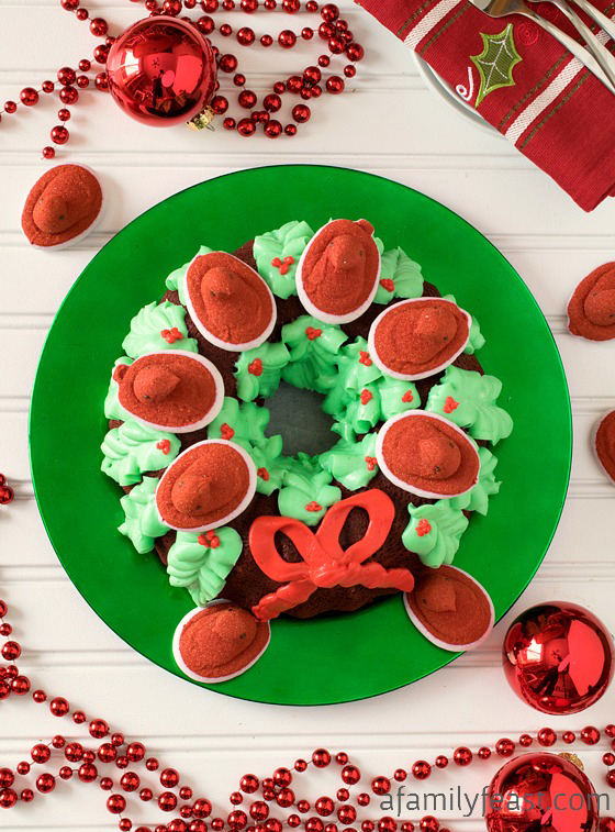This delicious Red Velvet PEEPS® Holiday Wreath Cake is festive and delicious! Part of the 24 Days of #PEEPSONALITY !