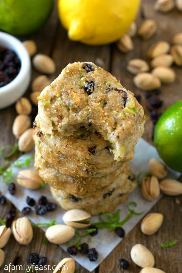 Pistachio Lemon Lime Shortbread Cookies - Fantastic cookies with bright citrus flavors among the crunch of pistachios. Addictively delicious!