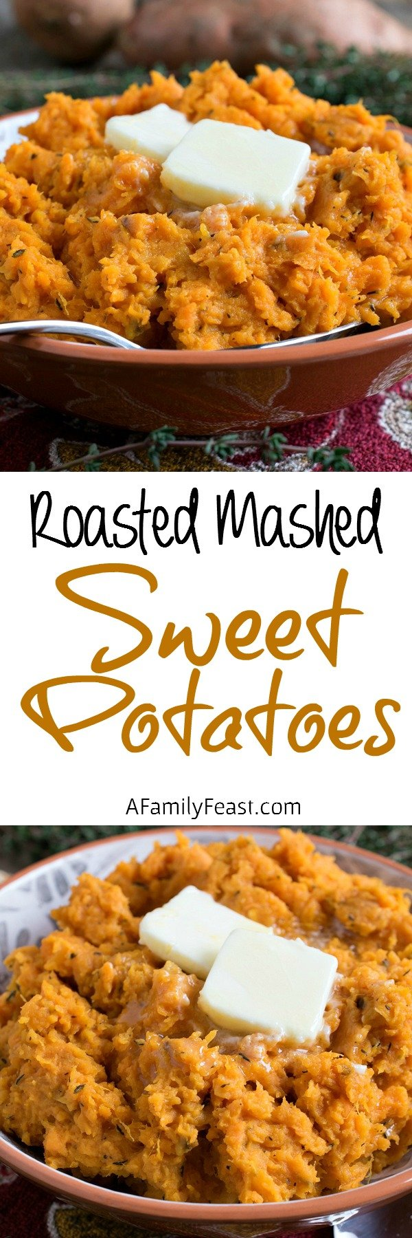 Roasted Mashed Sweet Potatoes - Mashed sweet potatoes with delicious, intense flavor thanks to roasting the potatoes in the oven. Super easy to make!