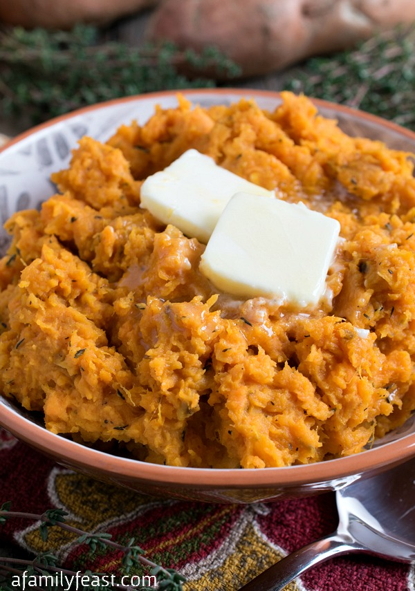 Roasted Mashed Sweet Potatoes - A Family Feast