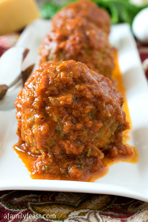 These fantastic Italian-style giant Stuffed Meatballs are delicious served as an appetizer or alongside your favorite pasta dish!