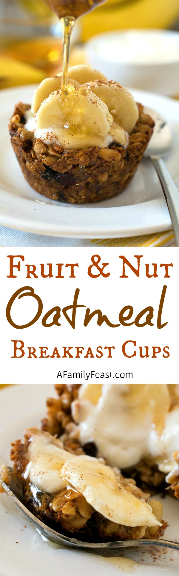 Fruit and Nut Oatmeal Breakfast Cups - Make breakfast a little extra special with these sweet little cups! Fill with yogurt and fruit for the perfect sweet treat.