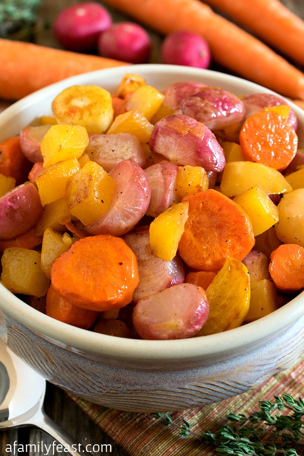 Roasted Radishes and Root Vegetables - A simple side dish with great flavor and color! (Who knew roasted radishes were so delicious!)