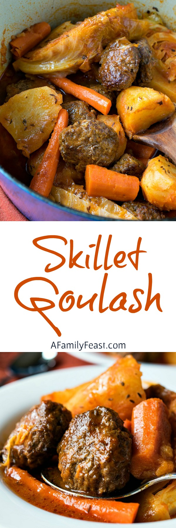 Skillet Goulash - A simple, one-pot family-style dinner with ground beef patties and root vegetables in a super flavorful sauce. Easy and delicious!