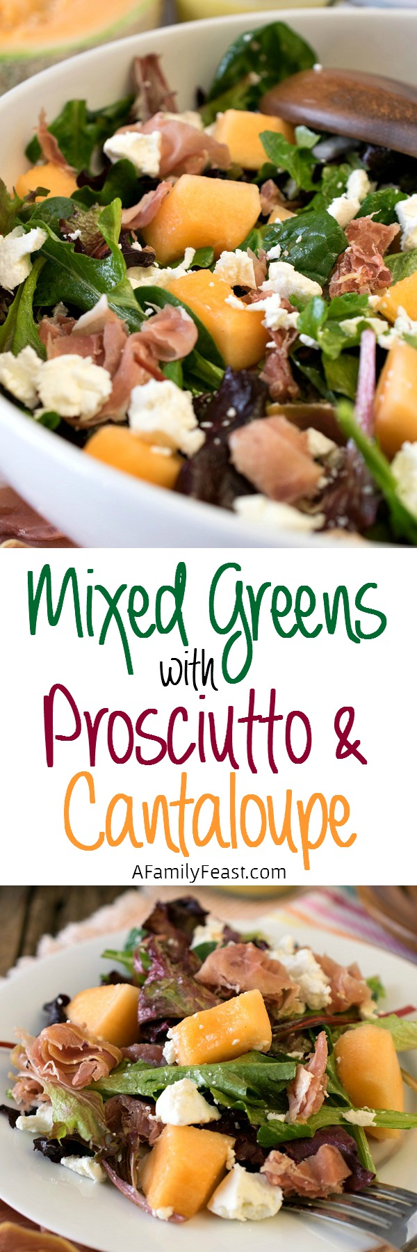 Mixed Greens with Prosciutto and Cantaloupe - A light salad with fantastic flavors!
