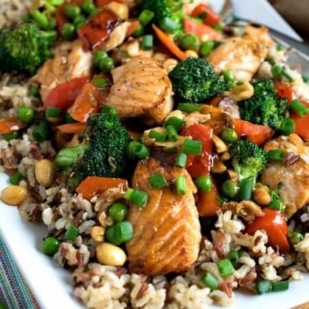 Stir Fry Salmon and Vegetables with Multi-Grain Medley - A Family Feast