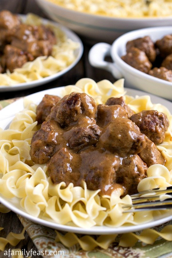 Swedish Meatballs over Noodles - A Family Feast