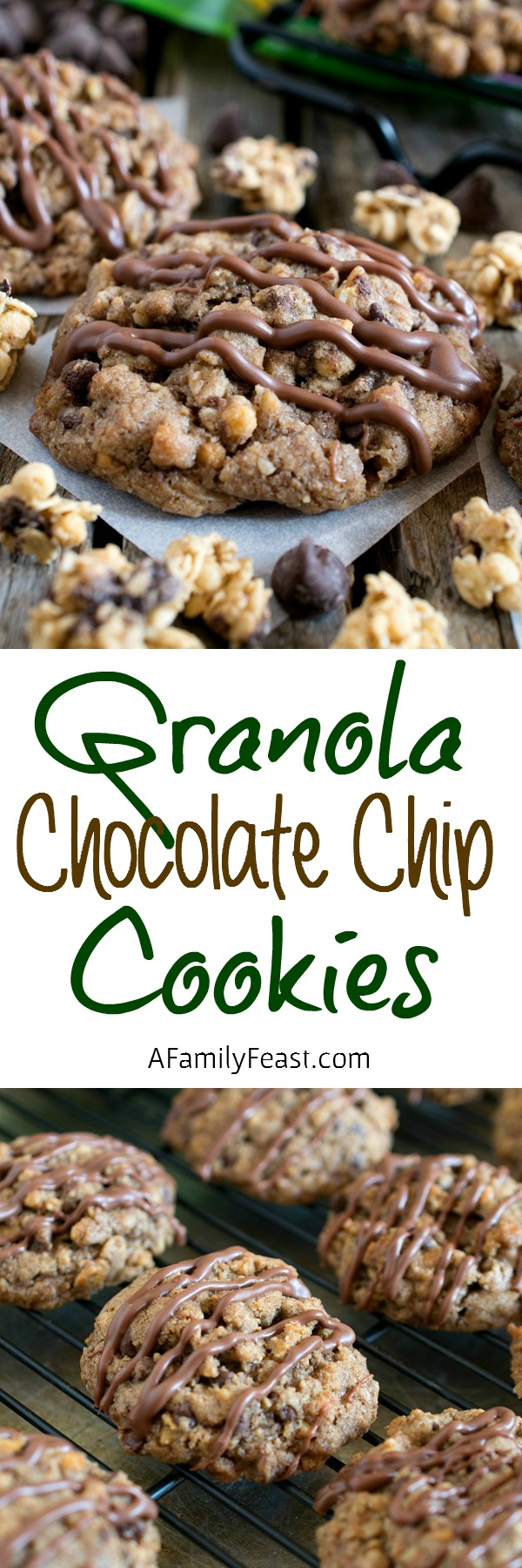 Granola Chocolate Chip Cookies - Cookie perfection! Crispy on the outside, chewy on the inside and stuffed with chocolate chips throughout.