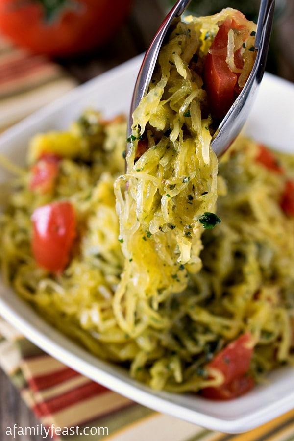 Whole30 Spaghetti Squash with Pesto - A Family Feast